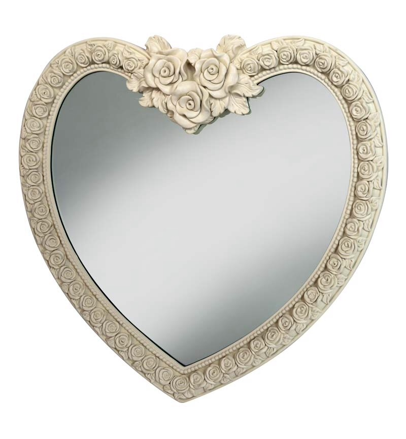 Heart Shaped Mirror with Rose Frame  in Cream / Ivory