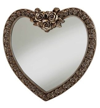 Heart Shaped Mirror with Rose Frame in Bronze 88cm x 44cm