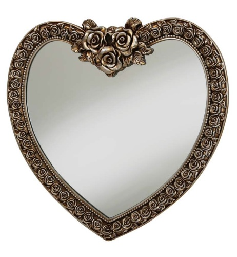 Heart Shaped Mirror with Rose Frame  in Bronze