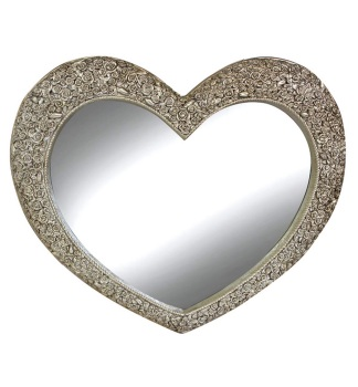 Heart Shaped Mirror with Rose Frame in Champagne Silver 94cm x 109cm