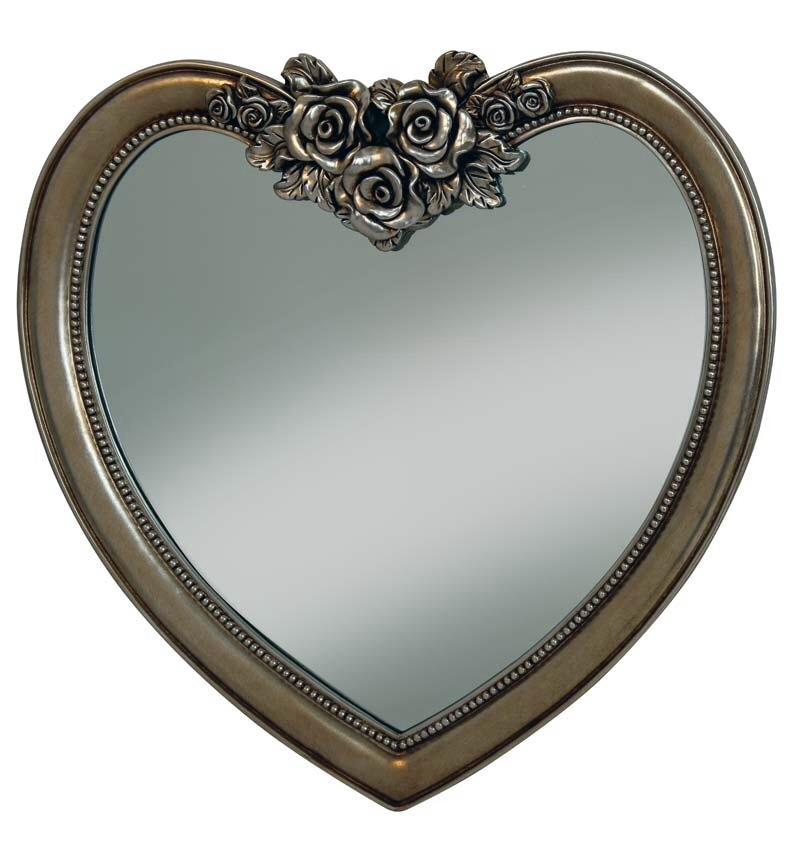 Heart Shaped Mirror in Bronze