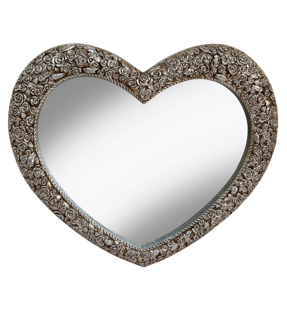 Heart Shaped Mirror with Rose Frame in Champagne Silver