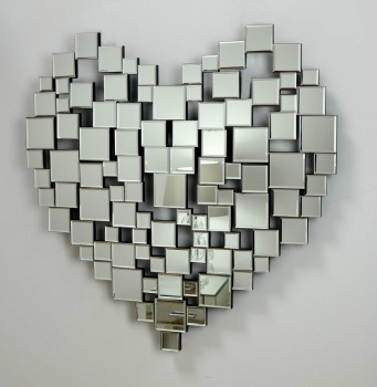 Heart Shaped Frameless Mirror in Silver