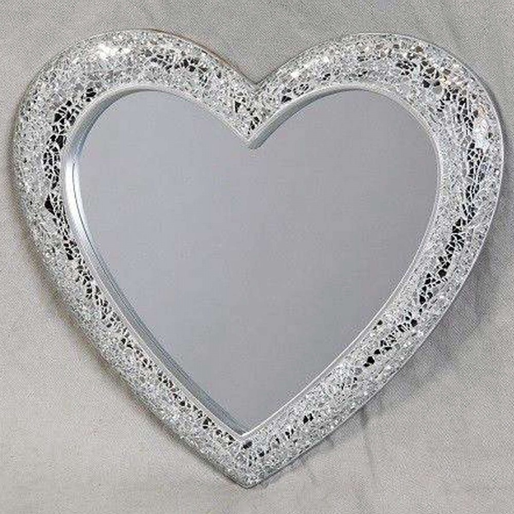 Heart Shaped Mosaic Sparkle Framed Mirror In Silver Mirrors Com Free Delivery Uk Nationwide