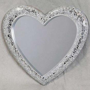 Heart Shaped Silver Mosaic Mirror