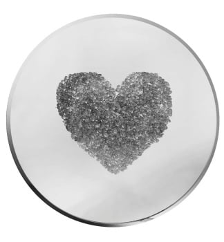 Glitter Love heart Clusters in Silver on Silver Bevelled Round Mirror