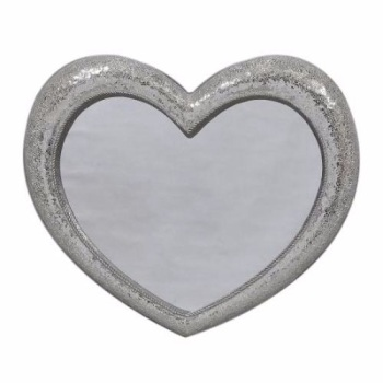 Heart Shaped Silver Mosaic Mirror small 92cm x 100cm Large