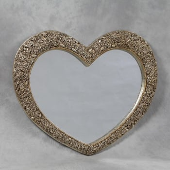 Heart Shaped Mirror with Rose Frame in Gold 92cm x 110cm