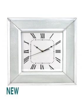 Frosted Milano Mosaic Crush Mirrored Clock
