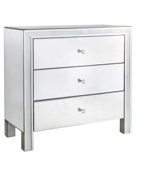 Frosted Milano Mosaic Crush Mirrored 3 Draw Chest