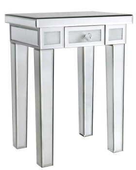 Frosted Milano Mosaic Crush Mirrored 1 Draw End Table