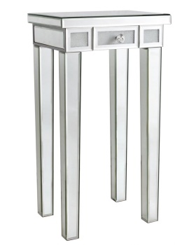 Frosted Milano Mosaic Crush Mirrored 1 Draw Telephone Table