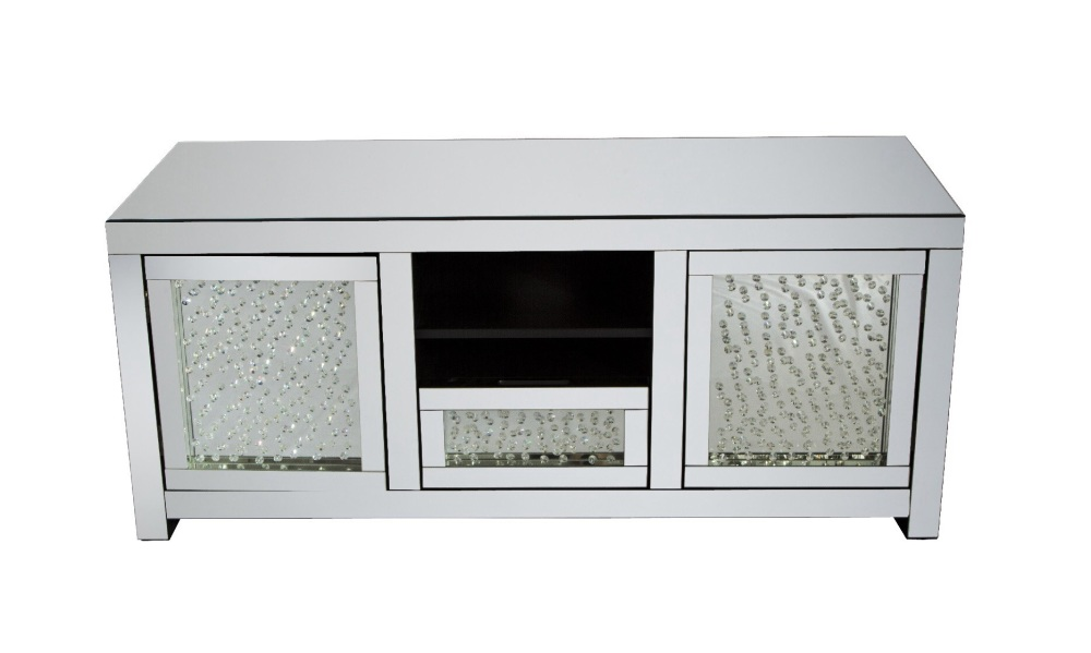 Floating Crystals Mirrored TV Entertainment Unit Item In Stock