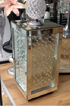 Floating Crystals Mirrored Pedestal  / Lamp Table large 70 cm x 31cm x 31cm