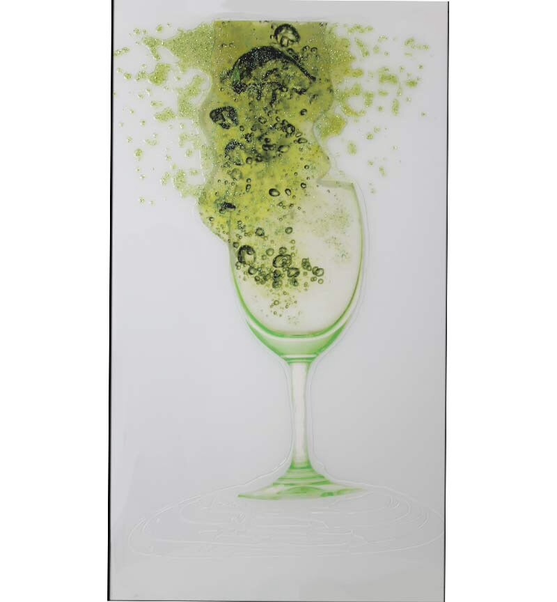 Abstract Green Wine Glass with Crystals Sparkles White Wall Mirror 100cm x