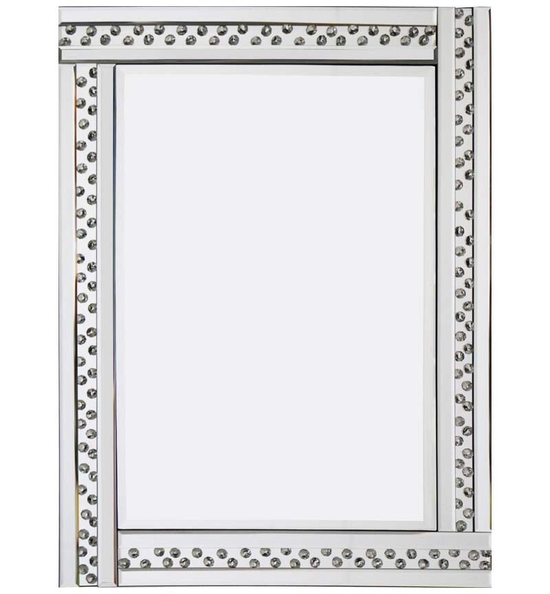 Floating crystals silver bevelled wall mirror 80cm x 60cm for Mirror 60cm x 80cm