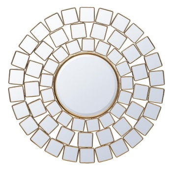 Gold Metal Framed Sunburst Mirror 108cm Dia