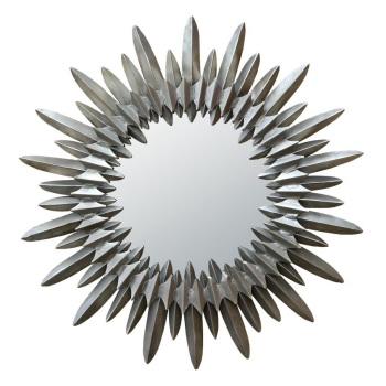 Silver Sunburst Metal Frame Mirror 83cm dia