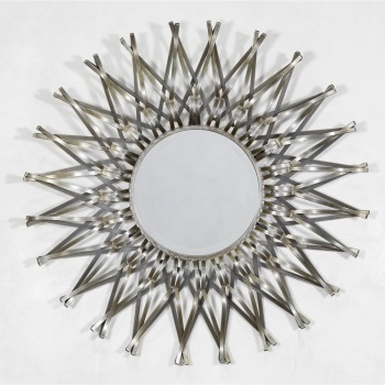 Sunburst Geometrical Metal Framed Mirror 101cm dia