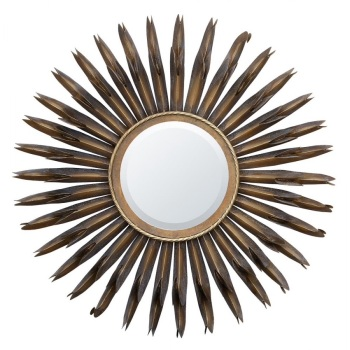 Gold Sunburst Metal framed Wall Mirror 90cm dia