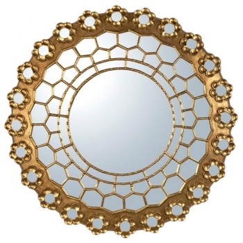 Persian Gold Gilt Leaf Round Mirror 106cm dia