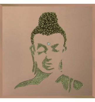 Liquid Glitter Cluster Buddha in Silver on a Bronze Bevelled Mirror 75cm x 75cm