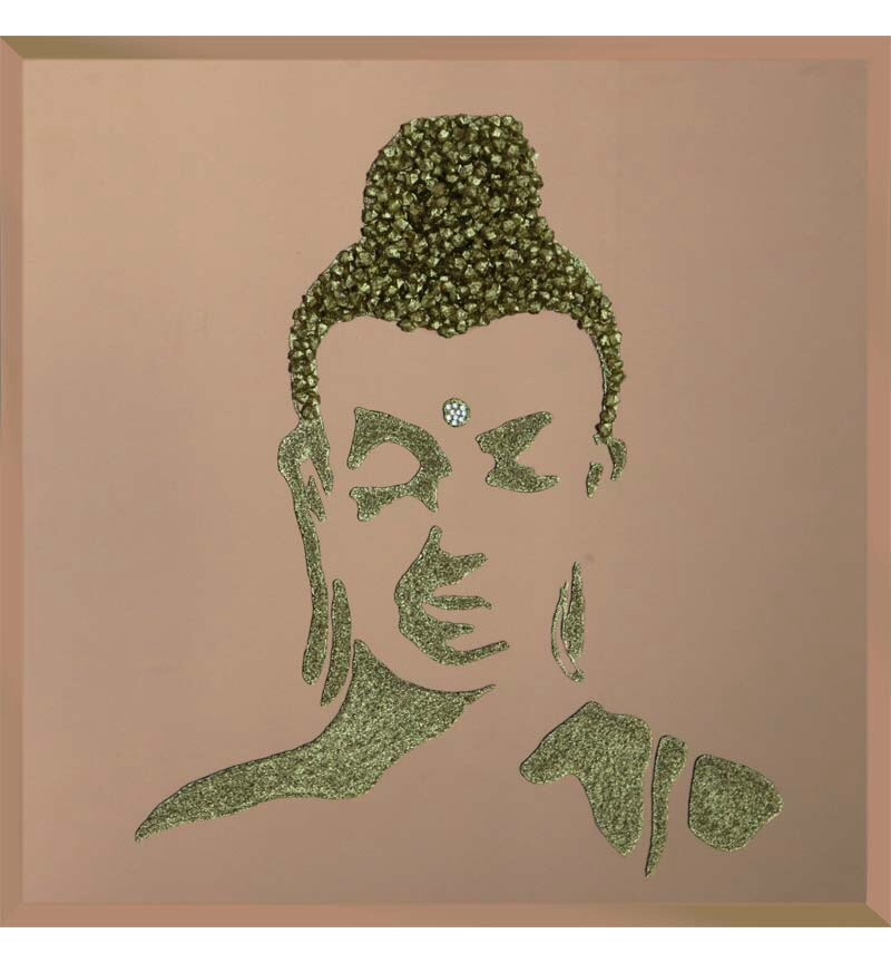 Liquid Glitter Cluster Buddha in Silver on a Bronze Bevelled Mirror 75cm x