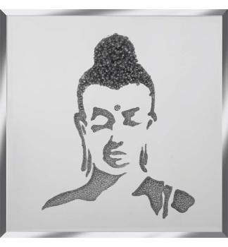 Liquid Glitter Cluster Buddha in Silver on a Silver Bevelled Mirror 75cm x 75cm