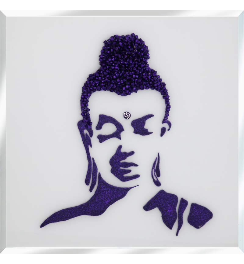 Liquid Glitter Cluster Buddha in Royal Purple on a Silver Bevelled Mirror 7