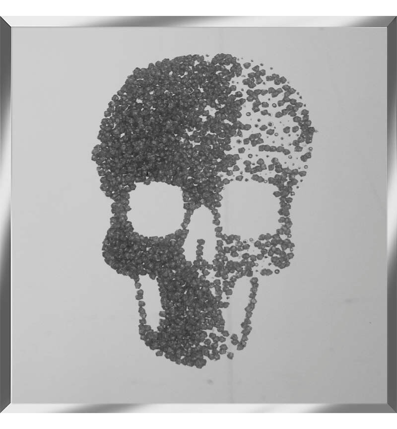 Liquid Glitter Cluster Skull Silver on a Silver Bevelled Mirror 75cm x 75cm