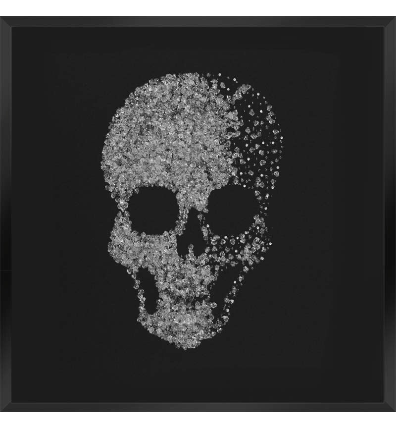 Liquid Glitter Cluster Skull in Silver on a Silver Bevelled Mirror 75cm x 7