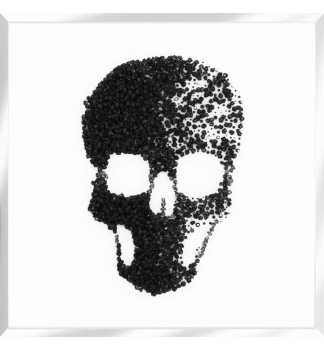 Liquid Glitter Cluster Skull in Black on a White Bevelled Mirror 75cm x 75cm
