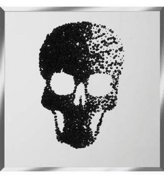 Liquid Glitter Cluster Skull Black on a Silver Bevelled Mirror 75cm x 75cm