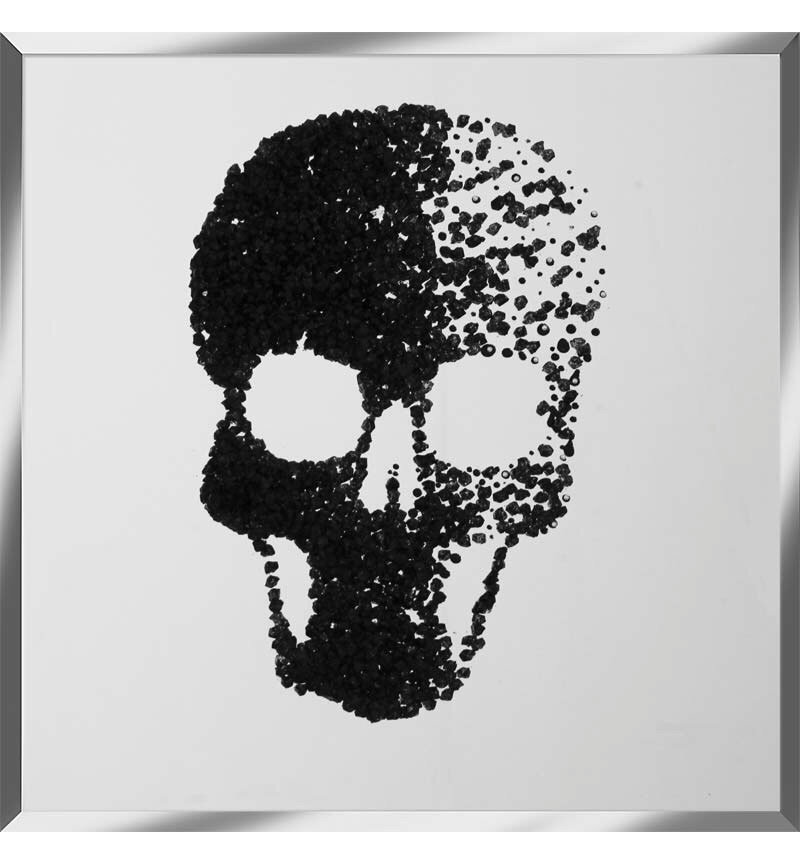 Liquid Glitter Cluster Skull Black on a Silver Bevelled Mirror 75cm x 75cm