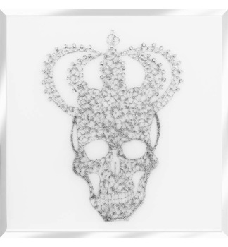Liquid Glitter Cluster Skull Silver Crown on a White Bevelled Mirror 75cm x 75cm
