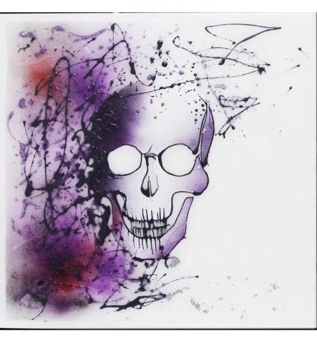 Liquid Glitter Graffiti Skull on a White Bevelled Mirror 75cm x 75cm
