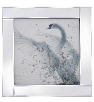 """Mirror framed art print """"Glitter Swan"""""""
