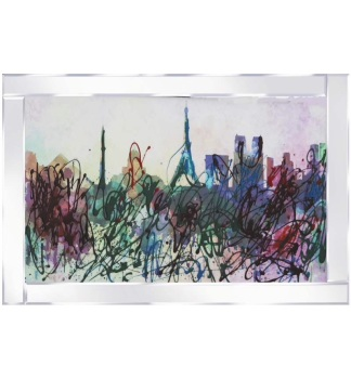 "Mirror framed art print ""Colourful Paris"" 100cm x 60cm"