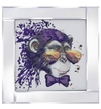 "Mirror framed art print Colourful ""Chimp"""