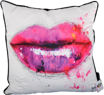 Patrice Murciano 55cm Luxury Feather Filled Cushion - 'Pink Lips'