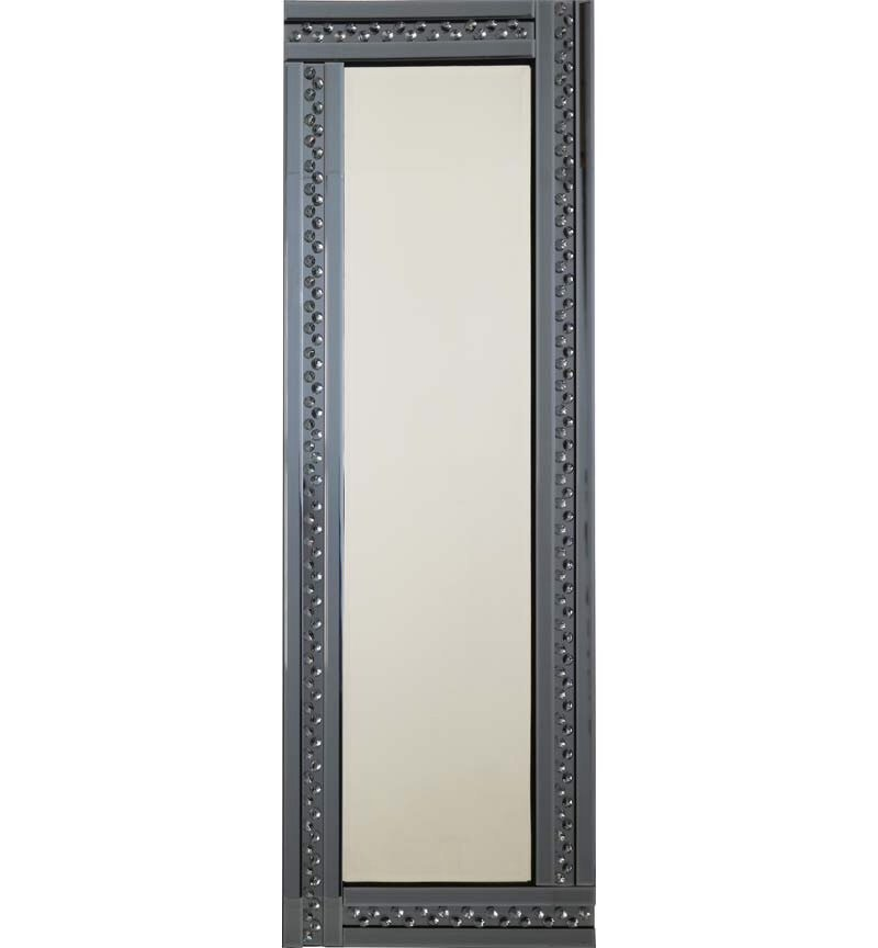 *Special  Glitz Floating Crystals Smoked Grey Wall Mirror 120cm x 40cm  - 4