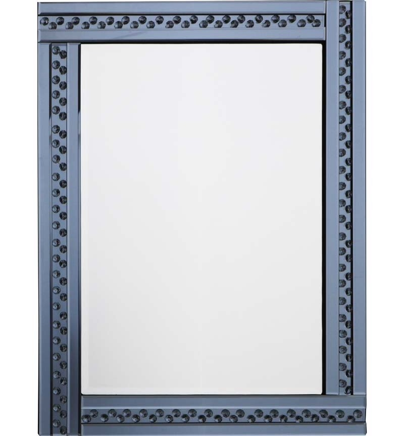 *Special Offer * Glitz Floating Crystals smoked Grey  Wall Mirror 80cm x 60