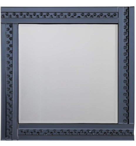 *Special Offer * Glitz Floating Crystals smoked Grey Wall Mirror 60cm x 60c