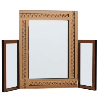 *Special offer Glitz Floating Crystals Bronze Tri fold Mirror 78cm x 54cm