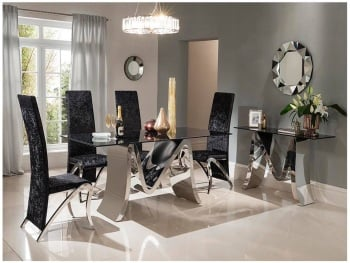 Mystique Dining Table and 6 black velvet fabric chairs