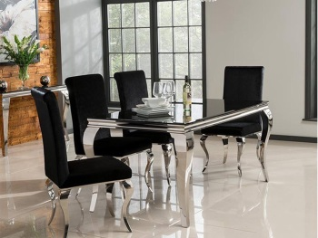 Louis Dining Table 1600mm + 4 Louis Chairs in black or Silver Fabric