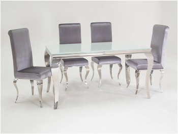 Louis 2 metre Dining Table & 6 Silver Grey uph Chairs