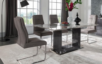 Donatella Grey Marble Dining Table 1600mm + 6 Chairs