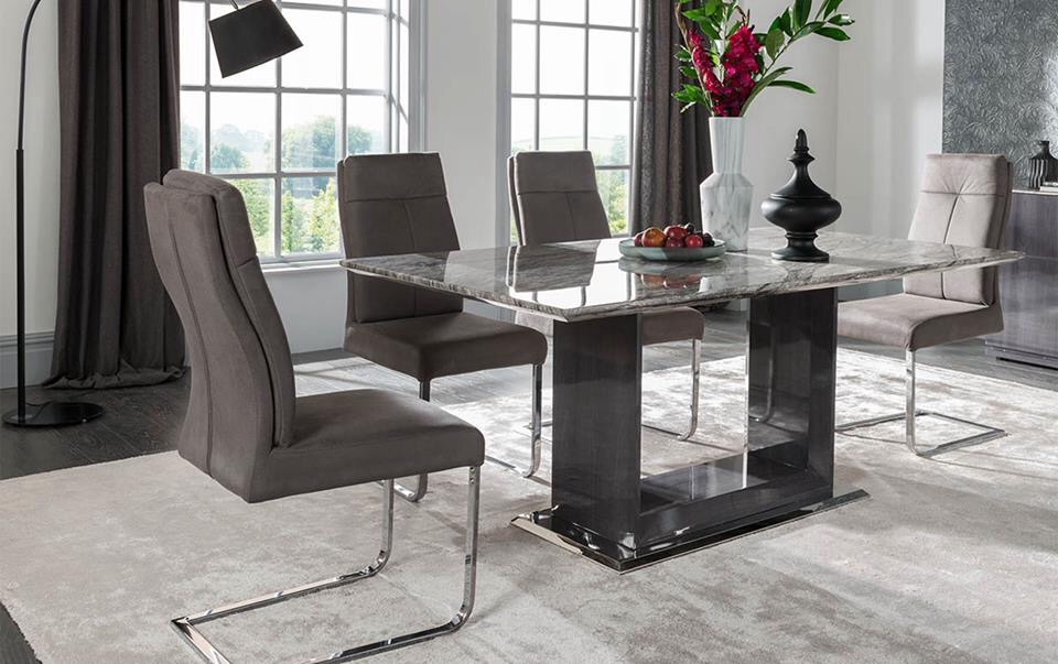 Donatella Grey Marble Dining Table 1600mm 6 Chairs