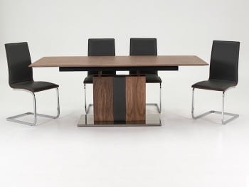 Almara extendable Dining Table + 6 Chairs black with walnut back